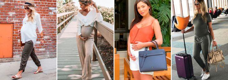 quatro fotos de mulheres usando moda gestante