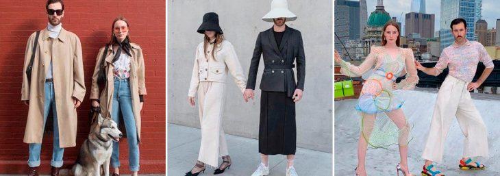 três imagens de um casal usando looks complementares