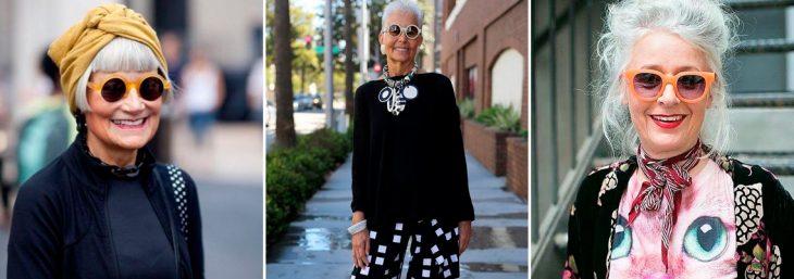 três imagens de mulheres ageless sorrindo