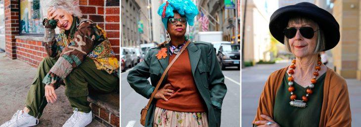 três imagens de mulheres de idade vestindo roupas coloridas
