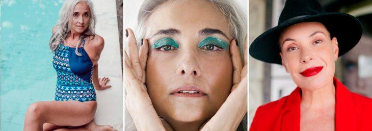 três fotos de mulher ageless juntas
