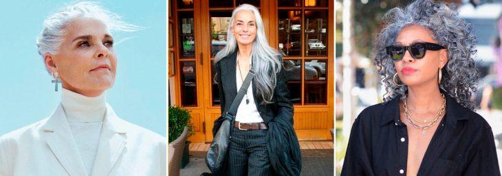 três imagens de mulheres ageless vestindo roupas nas cores pretas e brancas