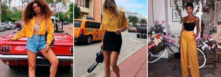 três imagens de mulheres caminhando usando roupas amarelas