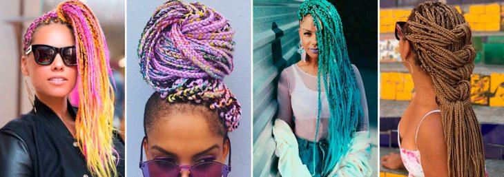 quatro imagens de modelos usando box braids em cores e comprimentos diferentes