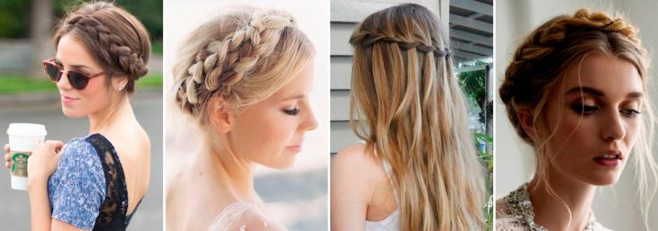 quatro imagens de mulheres loiras com uma coroa de tranças na cabeça