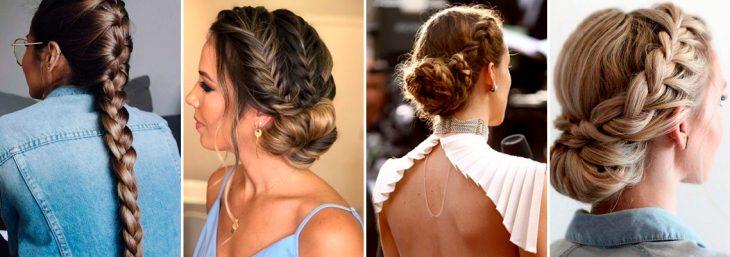 quatro imagens de mulheres de costas mostrando tipos de trança embutida em comprimentos diferentes
