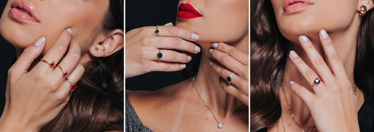 três imagens de uma mulher usando anéis solitários de cor preta