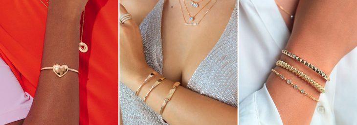 três imagens dos braços de diferentes mulheres com diferentes braceletes