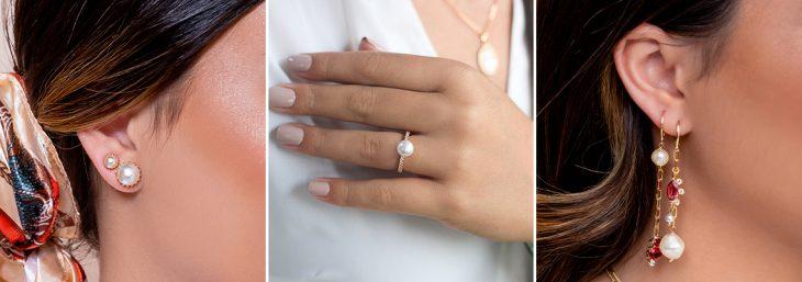 três imagens de mulheres usando anéis, colares e brincos de pérolas