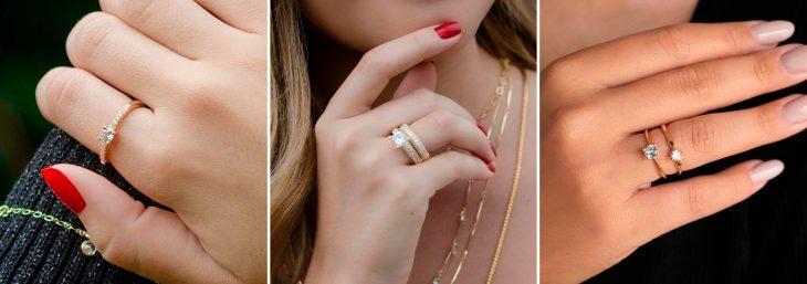três imagens ampliadas de mãos femininas com anéis solitários
