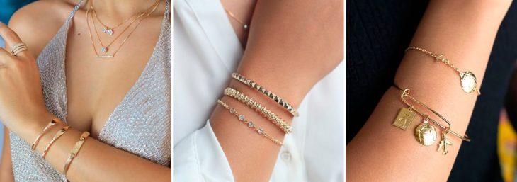 três imagens de pulsos femininos com diferentes braceletes