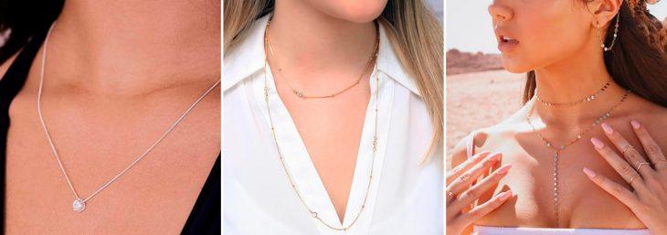 três imagens ampliadas de mulheres usando gargantilhas ponto de luz